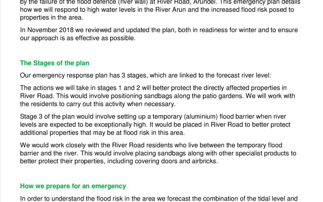 River Road Arundel Emergency Response Plan Summary