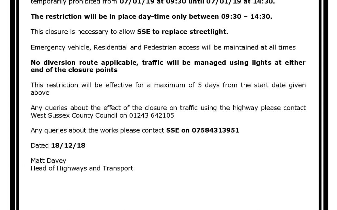 Road Closure Maltravers Street 07/01/19 – 09.30 – 14.30