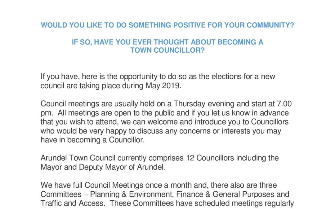 HAVE YOU EVER THOUGHT ABOUT BECOMING A  TOWN COUNCILLOR?