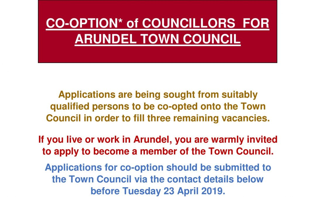 CO-OPTION* OF COUNCILLORS FOR ARUNDEL TOWN COUNCIL