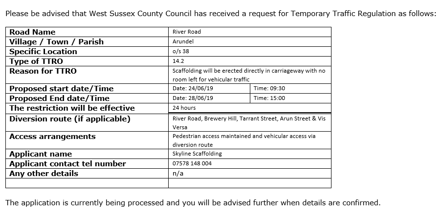 Early Warning Notice – Possible Temporary Traffic Regulation Order – River Road, Arundel (TBC)