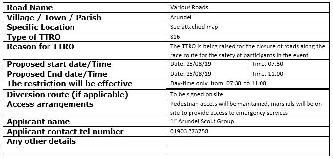 Early Warning Notice – Temporary Traffic Regulation Order – Arundel Castle 10k